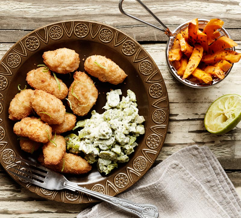 Food-Photographer-Whitby-Seafoods_Scampi-with-Minted-Crushed-Broad-Beans-and-Sweet-Potato-Chips